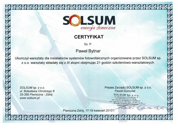 certyfikat instalator systemów fotowoltaicznych