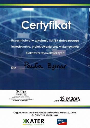 certyfikat elektrownie fotowoltaiczne