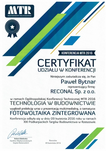 certyfikat fotowoltaika zintegrowana